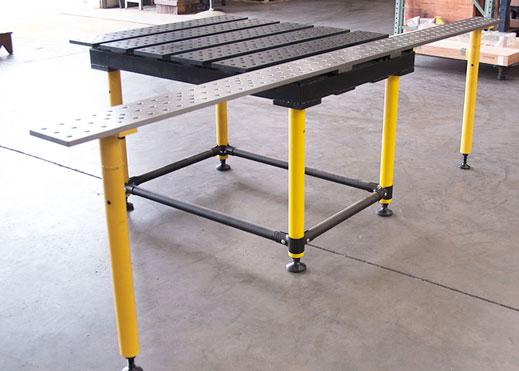 Окремі монтажні плити також використовуються для збільшення корисної поверхні зварювальних столів.